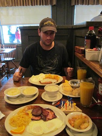 """Cracker Barrel: Ready to tackle breakfast, complete with """"chicken fried chicken"""""""