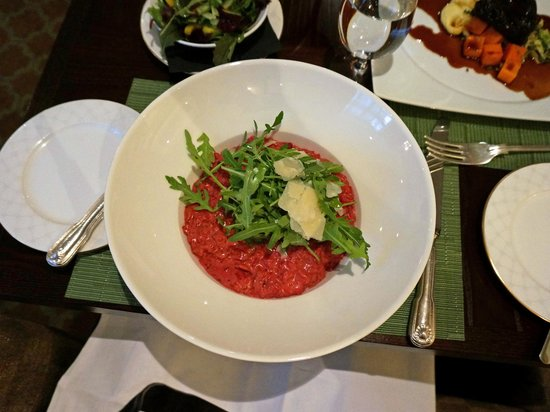 Brasserie at Ellenborough Park: Beetroot and Rosemary Risotto topped with Rocket and Parmesan