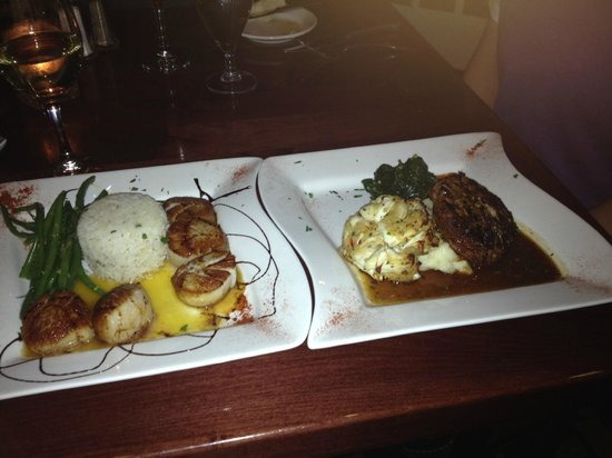 Erini Restaurant: Sea Scallops (left); Fillet Mignon (right)
