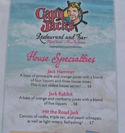 Cap'n Jack's: Drink menu