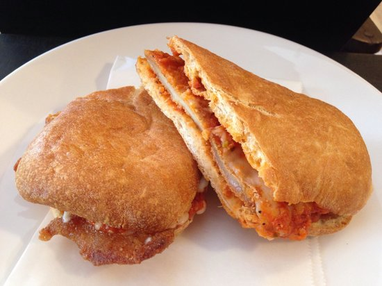PRONTO Italian Street Food: Amazing chicken Parmesan sandwich. Perfect to enjoy on their porch in the shade or to go on the
