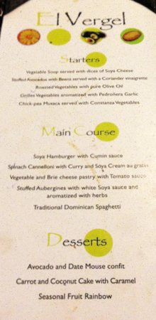 Sirenis Punta Cana Resort Casino & Aquagames : Here's the menu for the veg restaurant.