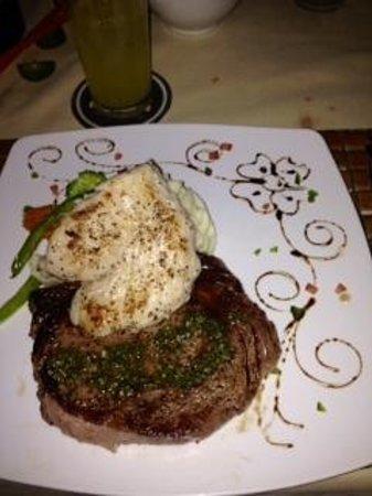 The Secret Garden Restaurant: Ribeye with grouper filet