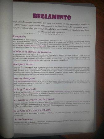 Hotel Altas Cumbres: carpeta con muchas REGLAS para la habitacion y sugerencias de actividades