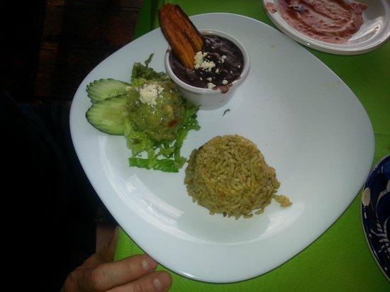Bar Oceano Restaurante: Veggies, rice and sauce to accompany chicken fajita