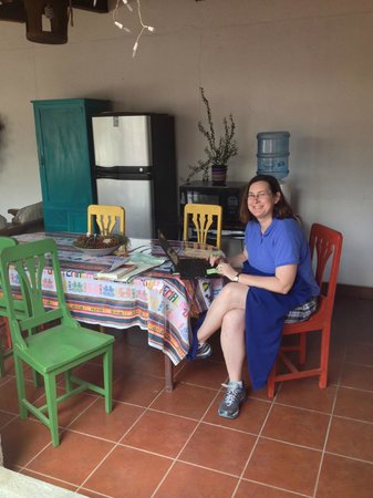 Casa los Joles : Enjoying the nice sitting area upstairs with fridge and water cooler.
