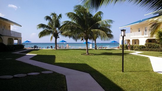 Cayman Reef Resort: Looking out to the ocean from the pool