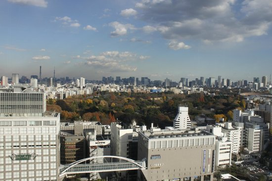 Hotel Century Southern Tower: Lovely view of Yoyogi Park, Takashimaya in the foreground
