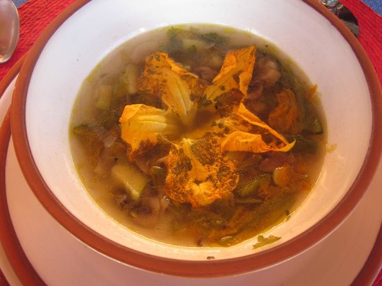 Oaxaca Ollin: Squash Blossom soup made during Karla Maria's class
