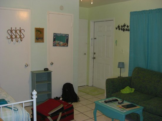 Angelfish Inn: closets, front door, living space