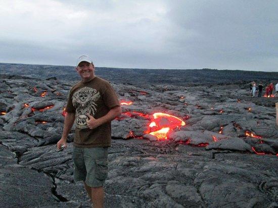 David Ewing Lava Walking Tours: Enjoying the moment at a surface lava flow.