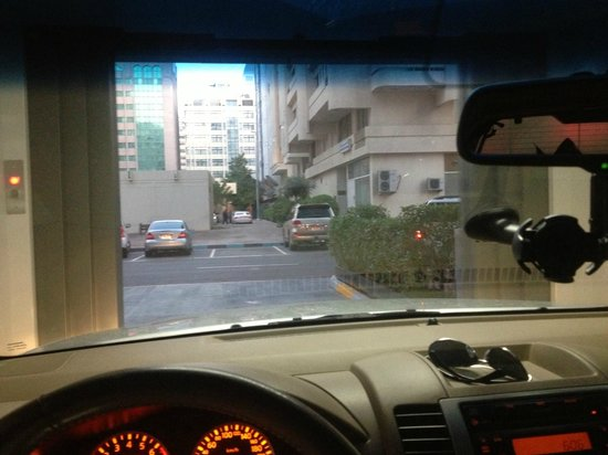 Ramada Abu Dhabi Downtown: View out of Vehicle Elevator
