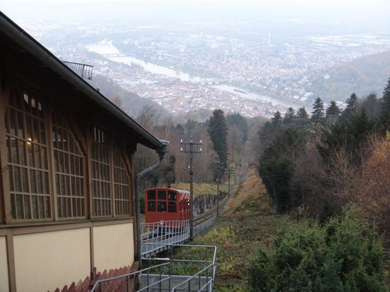 Konigstuhl Funicular (Bergbahn): station at the top and view of Heidelberg