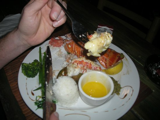Tippy's: lobster, 5 green beans, 3 broccoli, scoop of rice, ordered another lobster tail,charge 40$ half