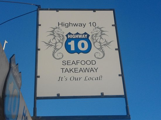 Seafood takeaways Highway 10: board