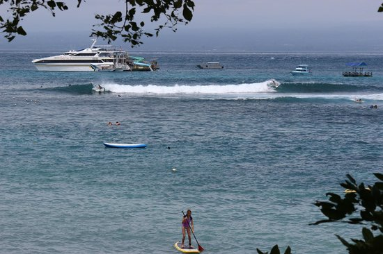 """Song Lambung Beach Hut: The view of the surf spot """"Playgrounds"""" from the room."""