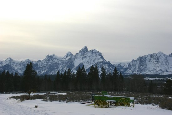 Triangle X Ranch : View of the Tetons from 1st Cabin