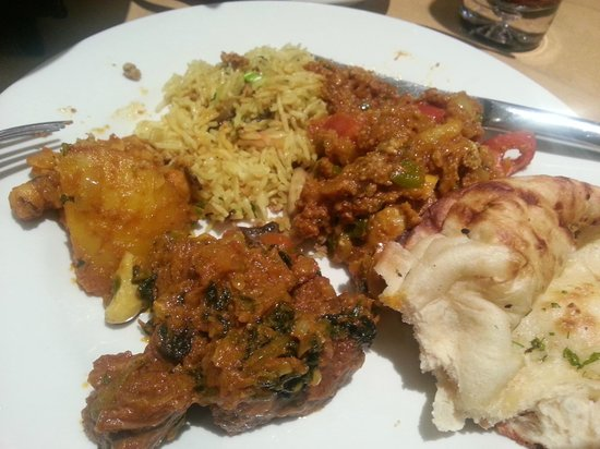 Rahman's: Naan, mushroom rice (my favourite!), lamb and spinach, bombay potato and chef special. Exception