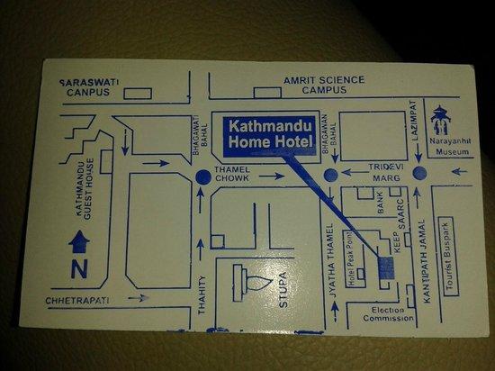 Kathmandu Home Hotel: Hotel card, location on it