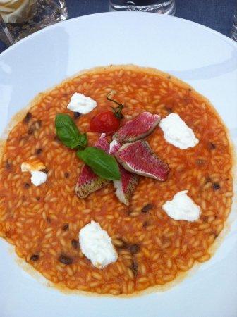 Maio Restaurant : Risotto con triglie burrata capperi e olive.