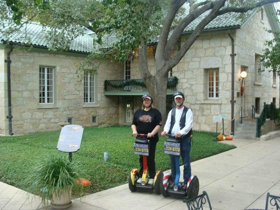 The Guenther House: outside the gunther house on Segways