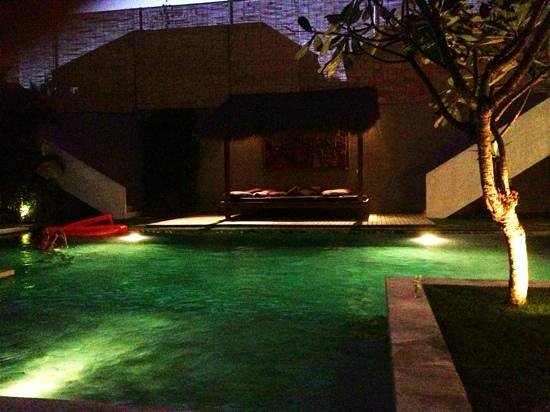 Villa chocolat : The beautiful pool at night