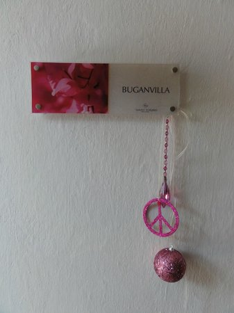 Hotel Santo Toribio: The sign on the Buganvilla room
