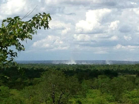 The Elephant Camp: view of the smoke from Vic Falls from restaurant terrace