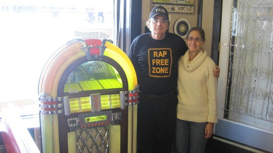 Rap Free Zone Guy & wife next to the Wurlitzer in Sun Studios