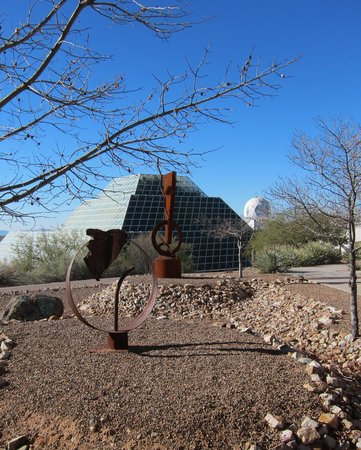Biosphere 2: Metal scultures on grounds.