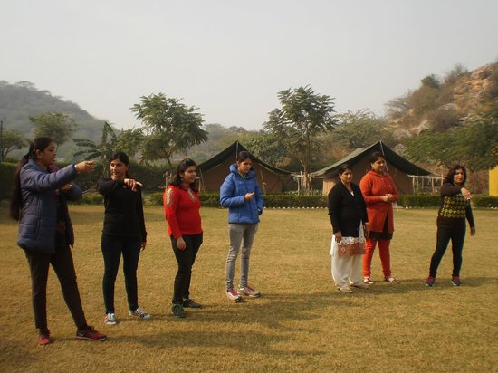 Camp Tikkling: Family and friends enjoying field games.