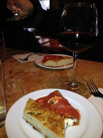 Foods of New York Tours: Eggplant rollatini and wine at Rafele Ristorante - amazing!