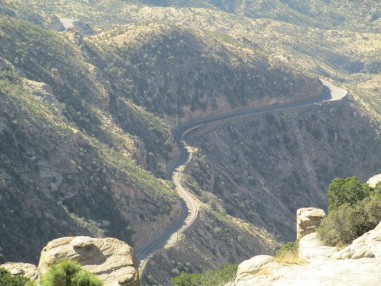 Mt. Lemmon Scenic Byway: Looking back at the road we had just driven.