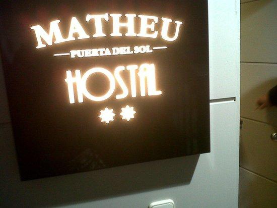 Hostal Matheu: sign outside hostel, its on first floor