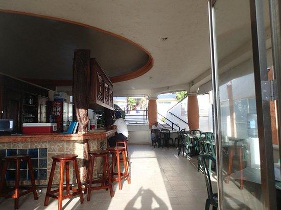 Playa Maya: kitchen, bar with some indoor tables.
