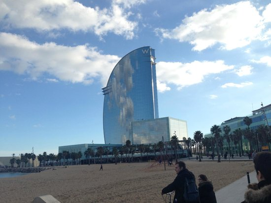 W Barcelona View From Outside Hotel On The Beach