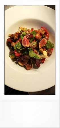 Made by Jonty: Fig. Blue cheese.  Hazlenut. Sun blushed tomato & seeded croutons.