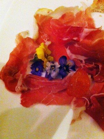 Fortyseven Hotel Rome : Colatella di Zibello -- the finest of Parma Hams with violets as an antipasto