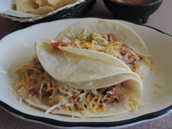 Olvera's: Grilled Chicken Tacos with cheese hold the rest!