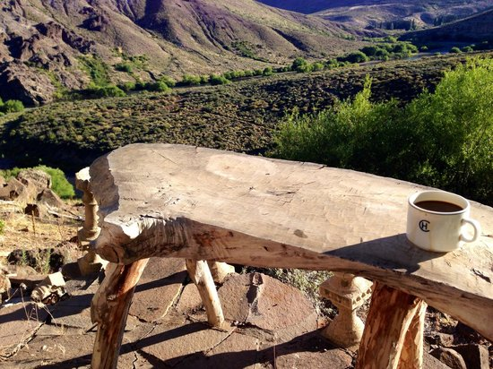 Estancia Ranquilco: Morning coffee from the Castle Room