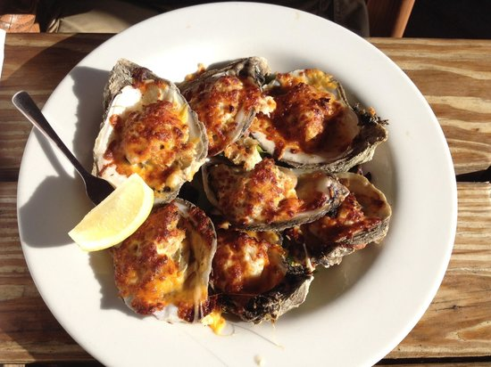 Skipper's Fish Camp: Tasty baked oysters topped with cheese and a small crab cake.
