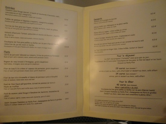 menu picture of chez gabrielle paris tripadvisor. Black Bedroom Furniture Sets. Home Design Ideas