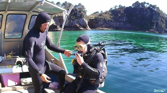 Cathedral Cove Dive & Snorkel: Josh with a Discover Scuba Diver first timer