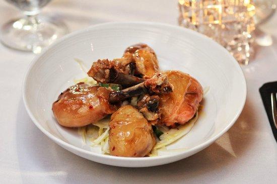 Palmers Restaurant: Crispy Chicken Drumsticks. Honey-garlic glaze, lemon, parsley over endive