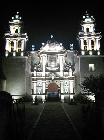 Cajamarca, Peru: Plaza de Armas at night