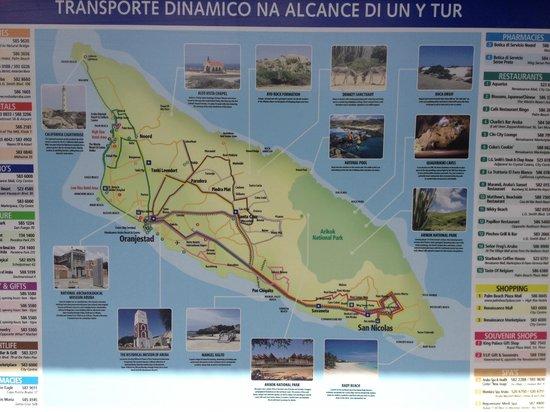La Cabana Beach Resort & Casino : Aruba Map at the bus station