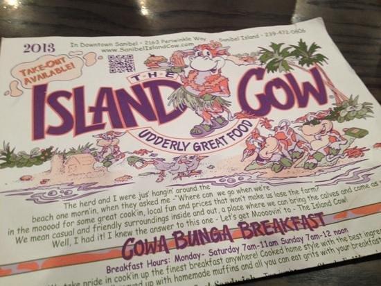The Island Cow : menu