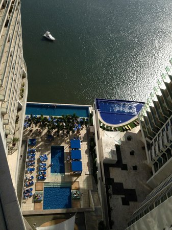 Trump Ocean Club International Hotel & Tower Panama: View from my balcony, this is the pool that gets morning sun