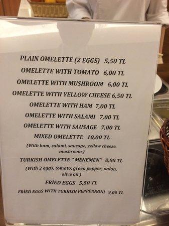 Innova Sultanahmet Istanbul: Egg price list
