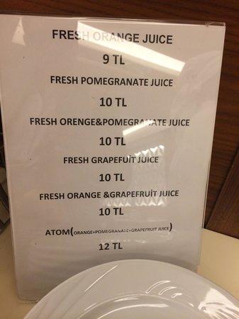 Innova Sultanahmet Istanbul : Juice price list